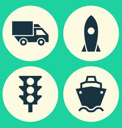 Shipment icons set collection of van stoplight vector