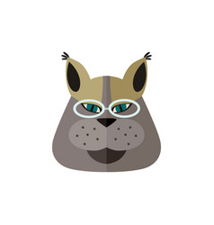 Siberian cat head with glasses icon vector