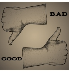 Sign-bad or good hand drawing offset vector