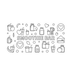 Smoothie bar concept horizontal outline vector