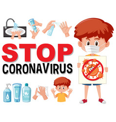 stop coronavirus with boy holding coronavirus vector image