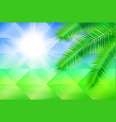 sunny background with palm geometric background vector image