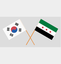 syrian national coalition and south korea flags vector image