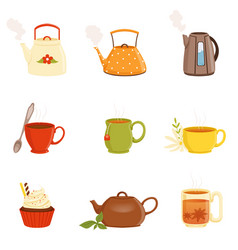 tea set various kitchen utensils tea cup and vector image