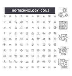 technology editable line icons 100 set vector image