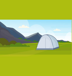 Tent camping area campsite near river summer camp vector