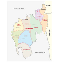 Tripura administrative and political map india vector