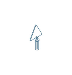 trowel tool isometric icon 3d line art technical vector image