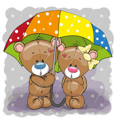 Two cute cartoon bears with umbrella vector