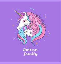 Unicorn family love magic dream 1 vector