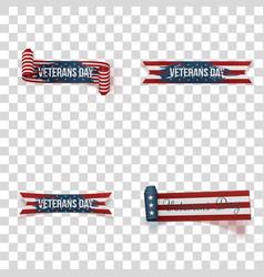 Veterans day ribbons set vector