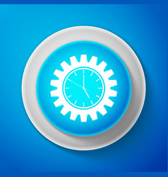 white clock gear icon isolated on blue background vector image