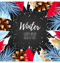 Winter card with poincettia vector image vector image