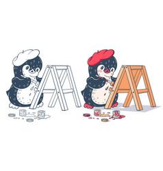 Winter with funny cartoon penguin vector
