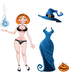 Witch with evening dress and pumpkin vector