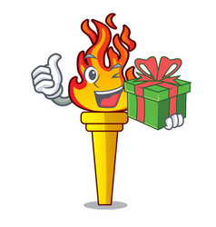 with gift torch mascot cartoon style vector image