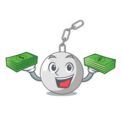 With money wrecking ball isolated on a mascot vector