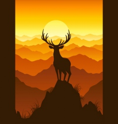 deer at sunset vector image