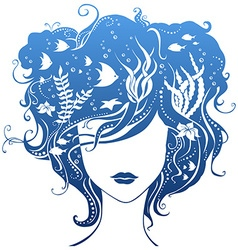 Girl with underwater life in hair vector image vector image