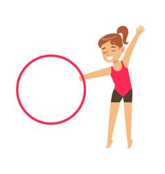 little girl doing gymnastics exercise with hula vector image vector image