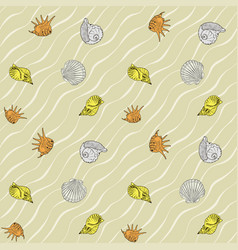 seashells on the sand seamless pattern vector image