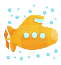 yellow submarine underwater on white background vector image