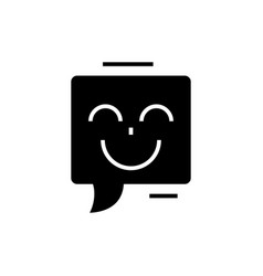 chat with smile icon black vector image