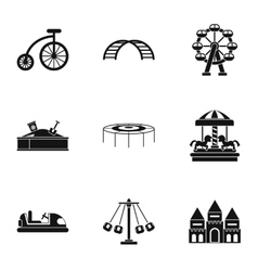 Entertainment for children icons set simple style vector