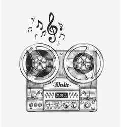 Hand-drawn vintage reel to tape recorder Sketch vector image