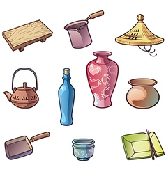 Japanese Traditional Kitchen Utensils vector image vector image
