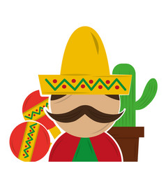 mexican man with mustache vector image