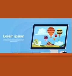 Modern desktop computer with colorful air balloons vector