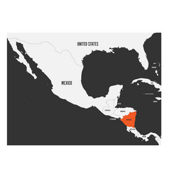 nicaragua orange marked in political map of vector image
