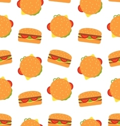 Seamless Pattern with Hamburgers Fast Food vector image vector image