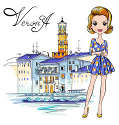 cute fashion girl in in verona italy vector image
