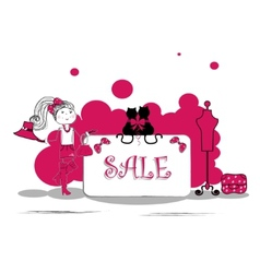 Fashion girls in sale campaign - vector image vector image