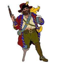 Fearsome pirate with a parrot vector image vector image