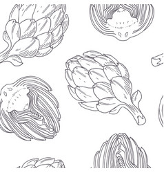 hand drawn seamless pattern with artichoke vector image
