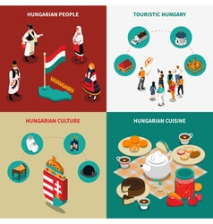 Hungary Isometric Touristic 2x2 Icons Set vector image