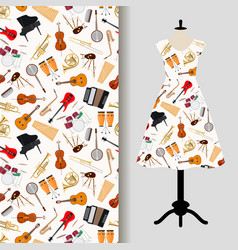 jazz musical instruments dress fabric pattern vector image