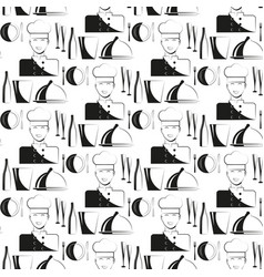 kitchen chef restaurant seamless pattern vector image vector image
