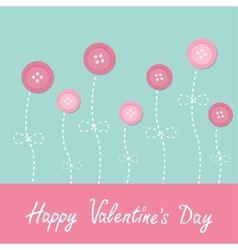 Pink button flowers Dash line stem with bow Love vector image vector image