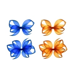 Set of Colored Orange Yellow Blue Gift Bows vector image vector image