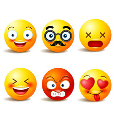 smiley face icons or yellow emoticons with vector image vector image