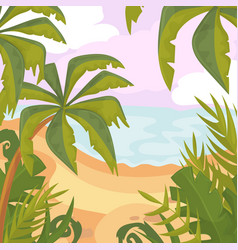 summertime on the beach palms and plants cartoon vector image