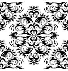 vintage floral damask seamless pattern black vector image