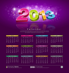 2013 new year calendar vector image