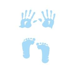 baby boy handprint footprint vector image vector image