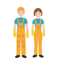 cleaners in uniform woman and man icon flat style vector image