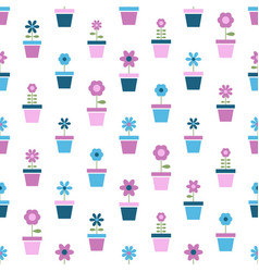 flowers in pots seamless pattern vector image
